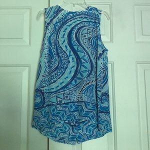 Lilly Pulitzer Silk Tank w/ Gold Button Down Back